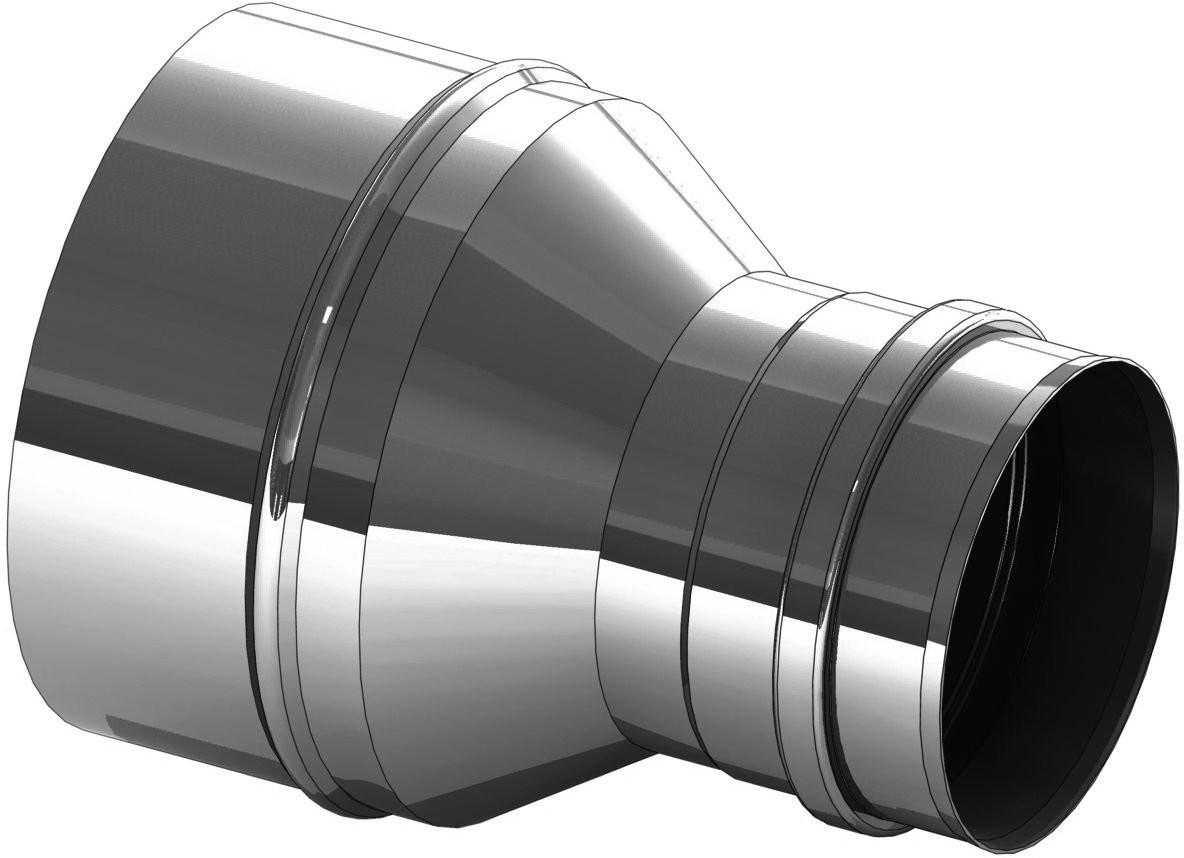 Versmalling RVS 200 naar 150 mm