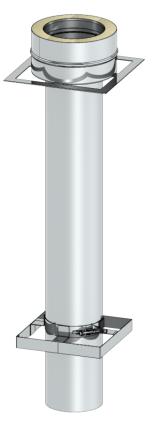 Ankerplatte 1000 mm mit Übergang auf DW-FU - Leichtbauschornstein