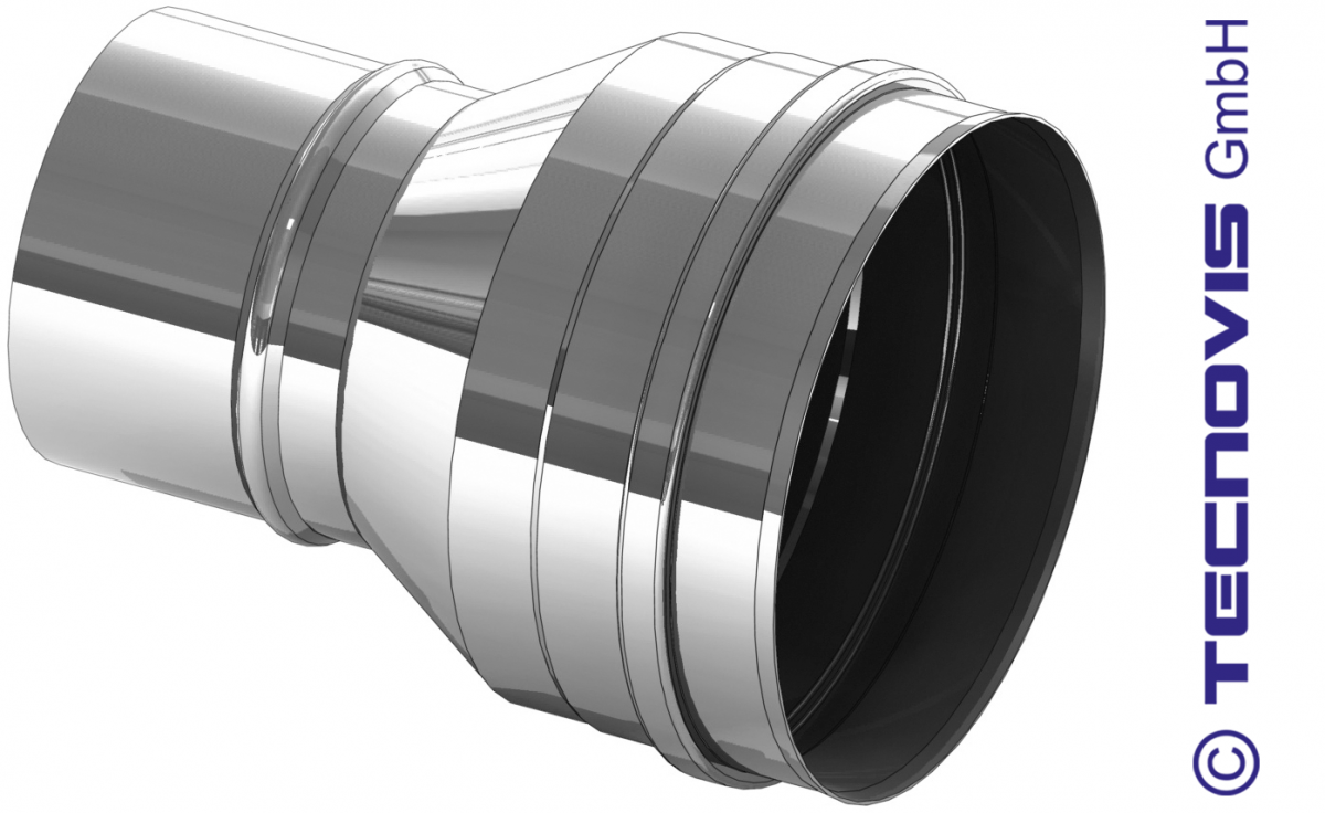 Erweiterung Edelstahl 120 auf 130 mm
