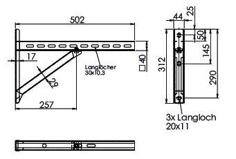 Wandkonsole TYP2 (Paar) Abstand bis 28 cm