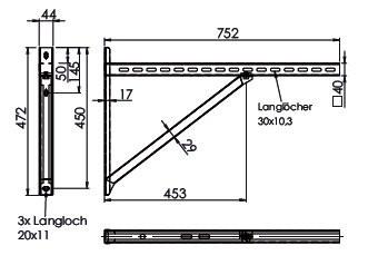 Wandkonsole TYP3 (Paar) Abstand bis 48.5 cm