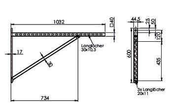 Wandkonsole TYP4 (Paar) Abstand bis 78.5 cm