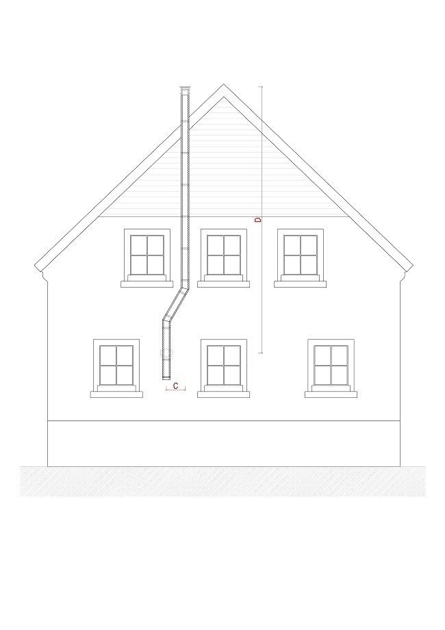 Edelstahlschornstein Fassade